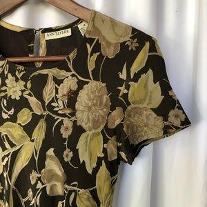 VINTAGE 100% silk midi dress in warm floral print